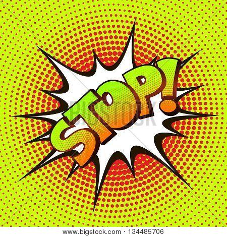 STOP pop art on a background of halftone. Retro comics. Vector illustration