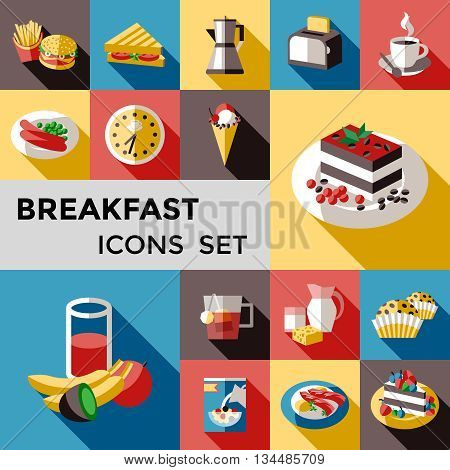 Breakfast square icon set with different types of breakfast or lunch for every taste vector illustration