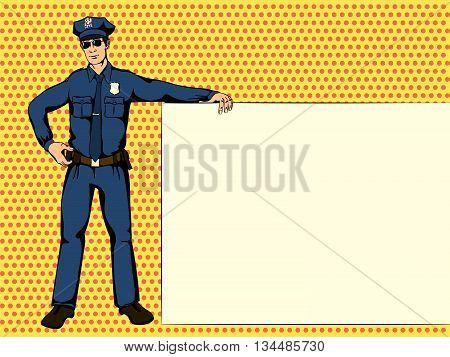 Police officer shows ads. Retro comics Vector illustration