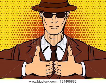 Gangster expresses pleasure. Retro comics. Vector illustration