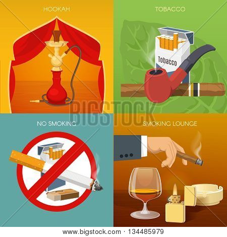 Smoking tobacco compositions with hookah room types of products prohibitive sign comfortable lounge isolated vector illustration