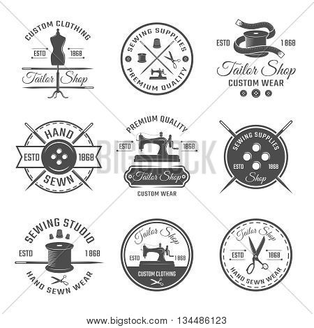 Black tailor round emblem or label set with descriptions of premium quality in tailor shop vector illustration