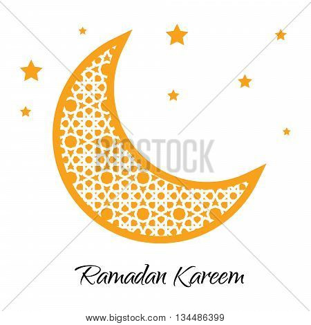 Ramadan Kareem moon with muslim ornament. Ramadan greeting card. Ramadan vector. Ramazan moon and yellow stars. Vector illustration.