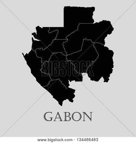 Black Gabon map on light grey background. Black Gabon map - vector illustration.