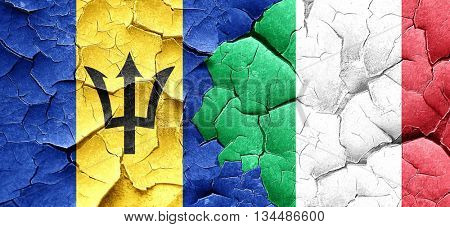 Barbados flag with Italy flag on a grunge cracked wall
