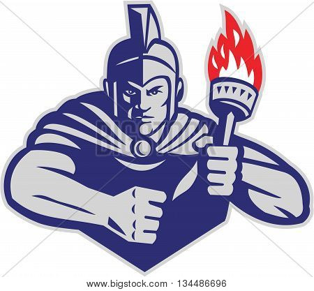Illustration of a greek warrior holding flaming torch viewed from front set on isolated white background done in retro style.