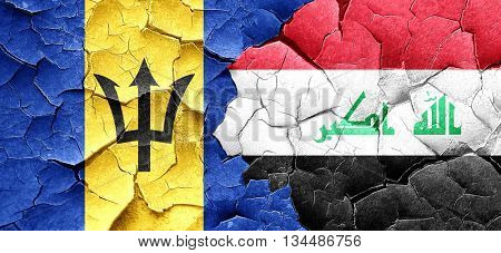 Barbados flag with Iraq flag on a grunge cracked wall