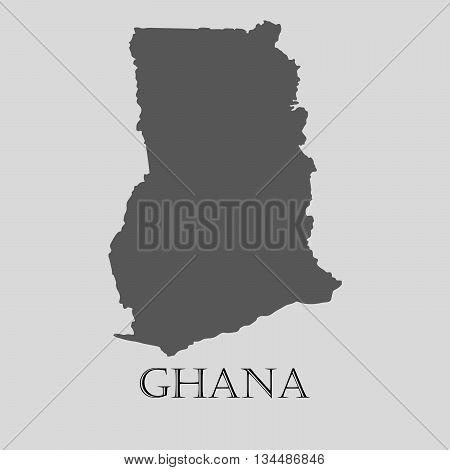 Black Ghana map on light grey background. Black Ghana map - vector illustration.