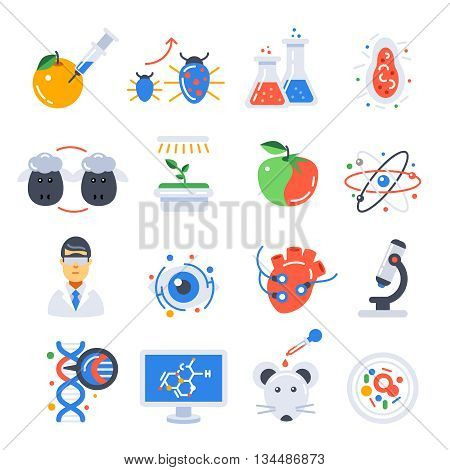 Biotechnology colored isolated icon set with scientific experiment in laboratory and equipment vector illustration