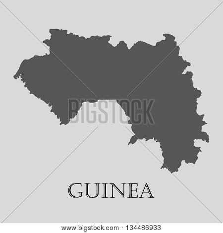Black Guinea map on light grey background. Black Guinea map - vector illustration.