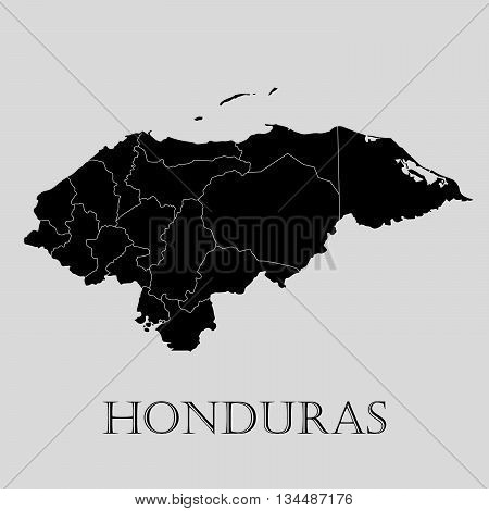 Black Honduras map on light grey background. Black Honduras map - vector illustration.