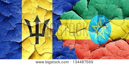 Barbados flag with Ethiopia flag on a grunge cracked wall