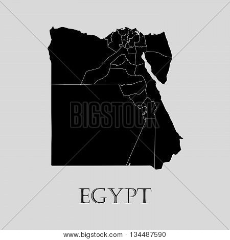 Black Egypt map on light grey background. Black Egypt map - vector illustration.