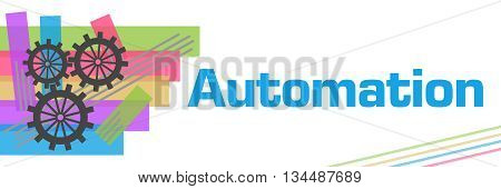 Automation concept image with text and gears symbol.