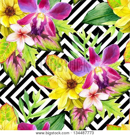 Beautiful bouquet on black and white background with geometric pattern. Composition with lily, plumeria, dahlia, palm and begonia leaves.  Botanical illustration.