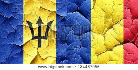 Barbados flag with Romania flag on a grunge cracked wall