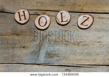 Wooden Slices On Wooden Table, German Word, Concept Wood