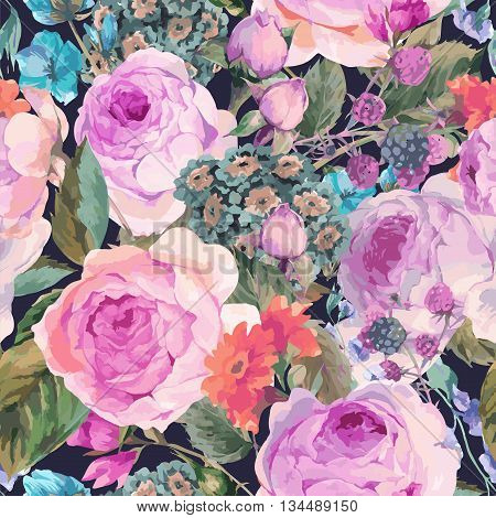 Classical vector vintage floral seamless pattern watercolor bouquet of English roses and wildflowers botanical natural watercolor illustration on black background