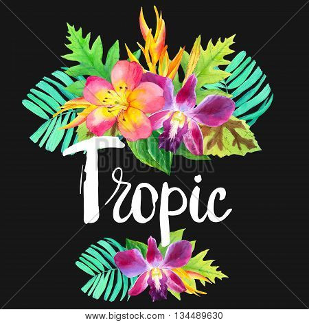 Beautiful bouquet with tropical plants on black background. Composition with lily, palm leaves, strelitzia and orchid.