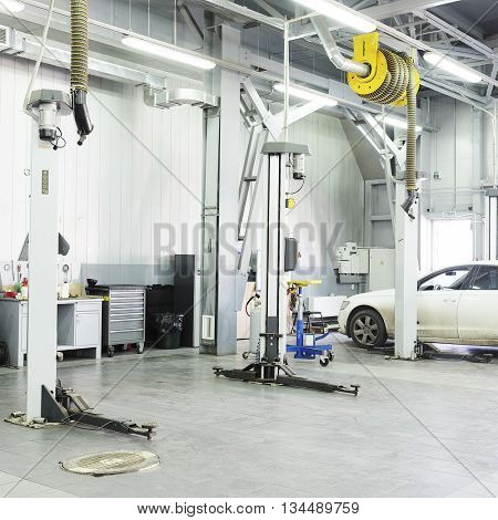Moscow region, Russia, May, 8, 2015: Cars in a dealer repair station in Moscow region, Russia