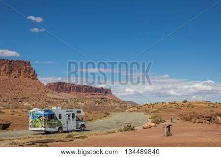 HITE, UT, USA - OCTOBER 3, 2015: RV along highway 95 in the southwest of the USA