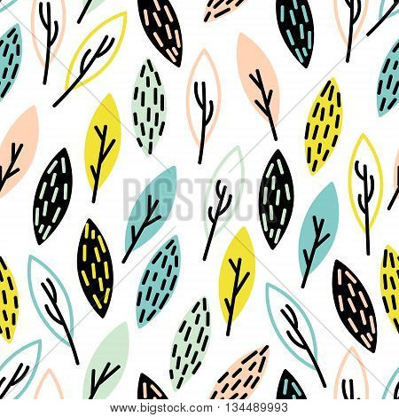 Vector seamless, hand drown leaf pattern. Cute foliage