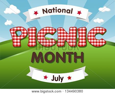 Picnic Month, July USA, grass landscape, red gingham checks text, blue sky background.