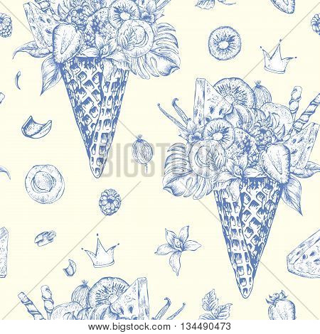 Summer vector monochrome hand drawn seamless pattern with a fruity cocktail in waffle cone flowers isolated natural illustration Berries in waffle cones