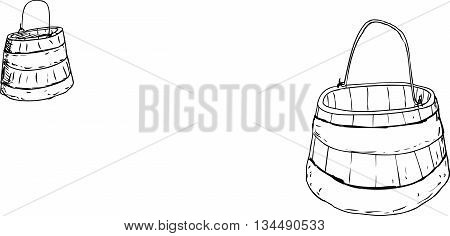 Outline Drawing Of Pair Of Old Wooden Buckets