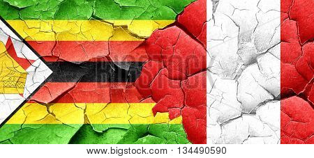 Zimbabwe flag with Peru flag on a grunge cracked wall