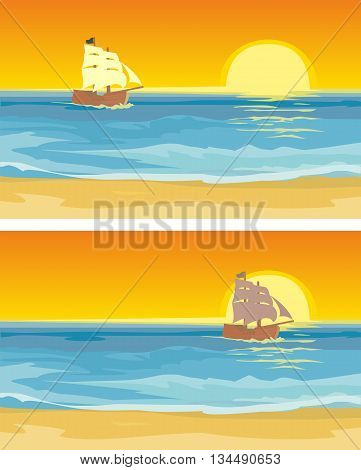 Sailboat floating on the sea. Vector flat illustration