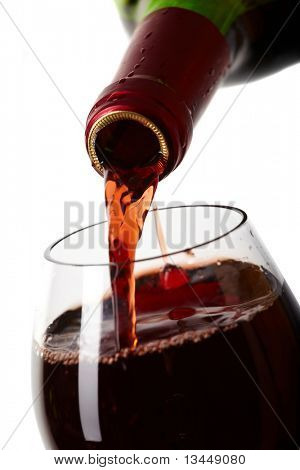 Red wine filling a glass, drink