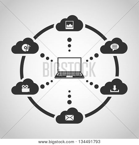 Cloud computing concept. Data storage network technology. Laptop connected to the clouds. Flat style illustration.