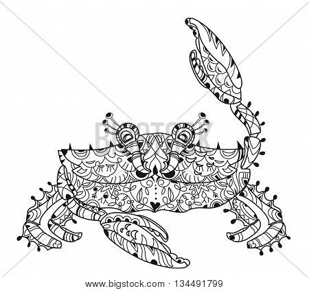 Exotic tropical crab with floral zen art. The color hand drawn doodle for adult or children coloring book. Sea life illustration.