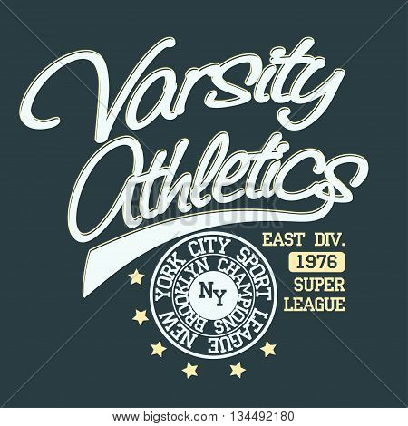 New York Brooklyn Sport wear typography emblem, t-shirt stamp graphics, vintage tee print, athletic apparel design graphic print. vector