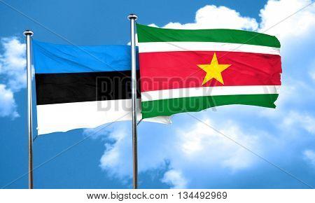 estonia flag with Suriname flag, 3D rendering