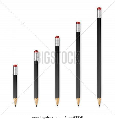 Black wooden sharp pencils isolated on a white background. Vector EPS10 illustration.