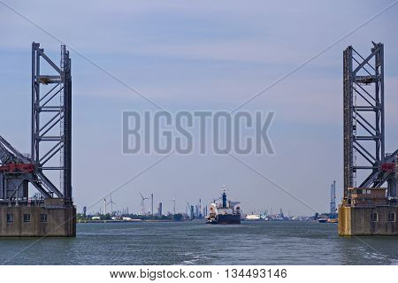 Drawbridges in the Port of Antwerp Belgium