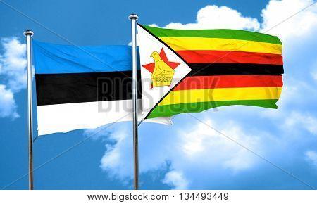 estonia flag with Zimbabwe flag, 3D rendering