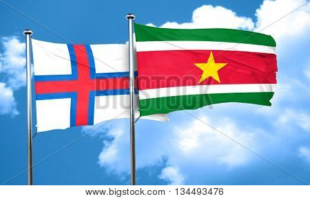 faroe islands flag with Suriname flag, 3D rendering
