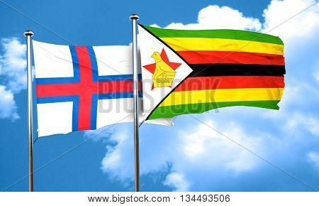 faroe islands flag with Zimbabwe flag, 3D rendering