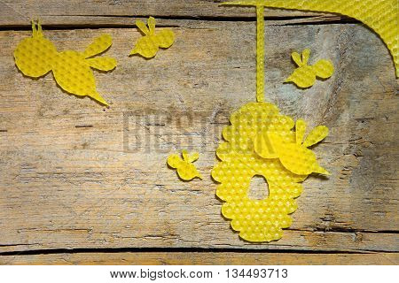 Beeswax, Bees And A Beehive On Wooden Table, Copyspace