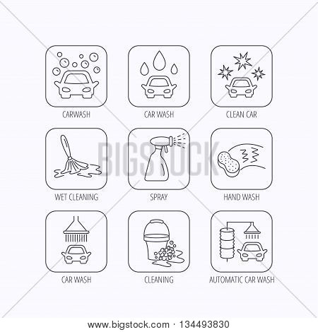 Car wash icons. Automatic cleaning station linear signs. Bucket with foam bubbles, sponge and spray flat line icons. Flat linear icons in squares on white background. Vector