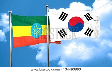 Ethiopia flag with South Korea flag, 3D rendering