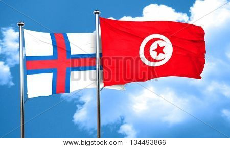 faroe islands flag with Tunisia flag, 3D rendering