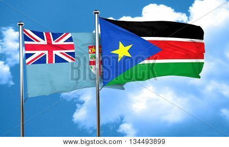 Fiji flag with South Sudan flag, 3D rendering