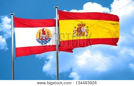 french polynesia flag with Spain flag, 3D rendering