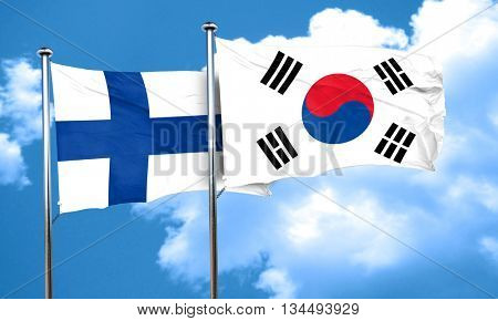 finland flag with South Korea flag, 3D rendering