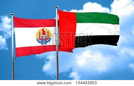 french polynesia flag with UAE flag, 3D rendering