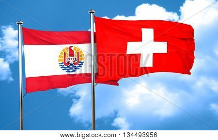 french polynesia flag with Switzerland flag, 3D rendering